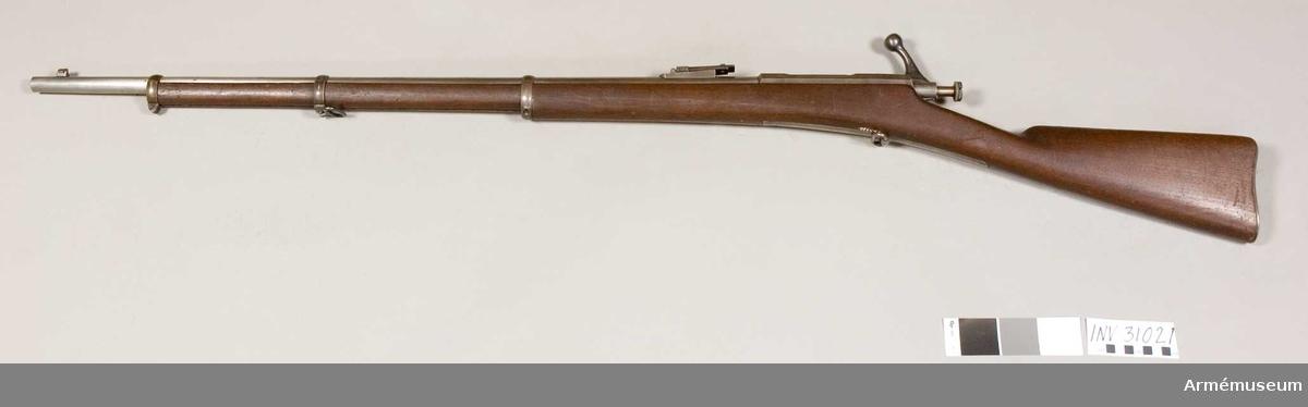 Grupp E II:f. Avsett för sabelbajonett med mekanism inrättad för tumtryck. Envalls projekt från 1880-talet.