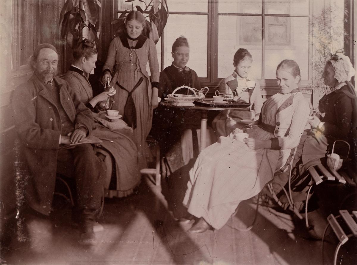 Gruppebilde fra glassverandaen på Linderud Gård hovedhus. Fra venstre: Ole Martin Borrebekken, Anna Mathiesen, Elise Mathiesen, Marie Hals, Agnes Mathiesen, Julie Mathiesen, fru  Julie Larpent.
