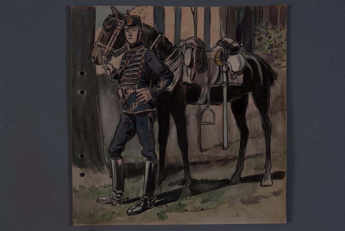 Plansch med uniform för Kronprinsens husarregemente K 7, ritad av Einar von Strokrich.
