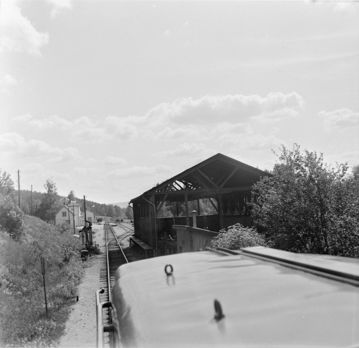 Innkjør på Åmli stasjon. Utsikt fra førerrommet på diesellokomotiv Di 2.
