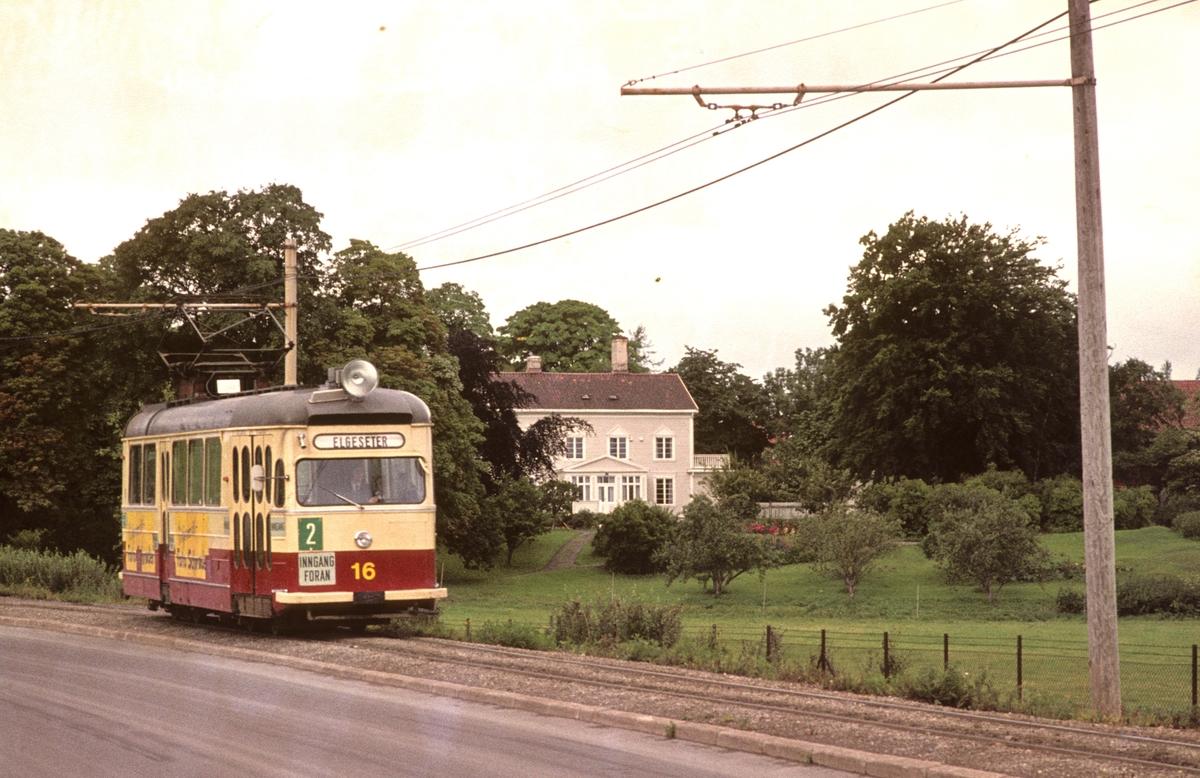 Trondheim Sporvei vogn 16 på linje 2 på enkeltsporet mot Lade.
