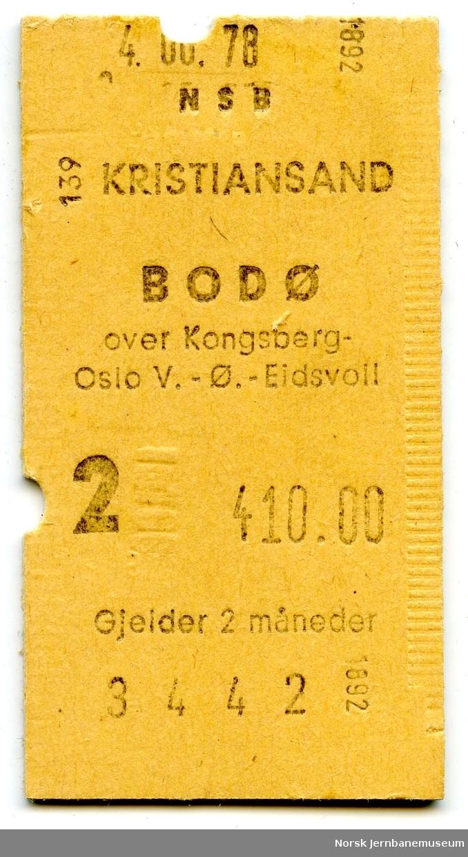 Billett Kristiansand-Bodø, 2. klasse, maskinbillett