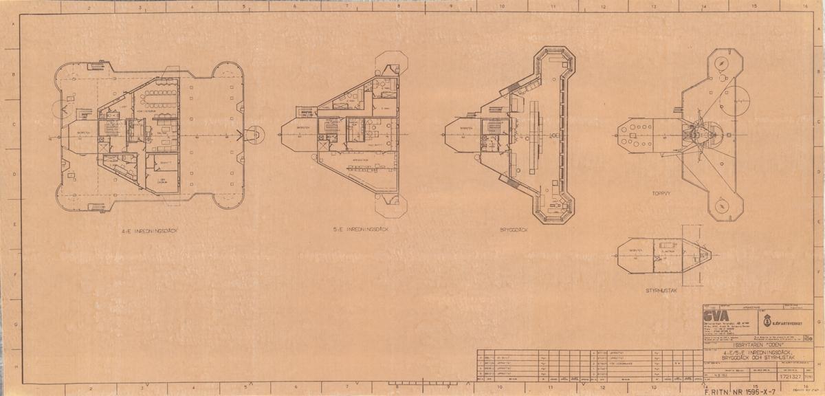 4:e/5:e inredningsdäck, bryggdäck och styrhustak på isbrytaren ODEN.