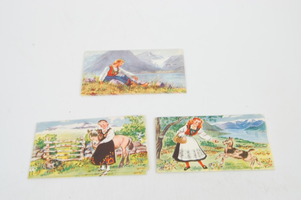 jenter i bunader, landskap, hest, geit. Nasjonalromantiske motiv. Sommerfugl på baksida nede i venstre hjørne
