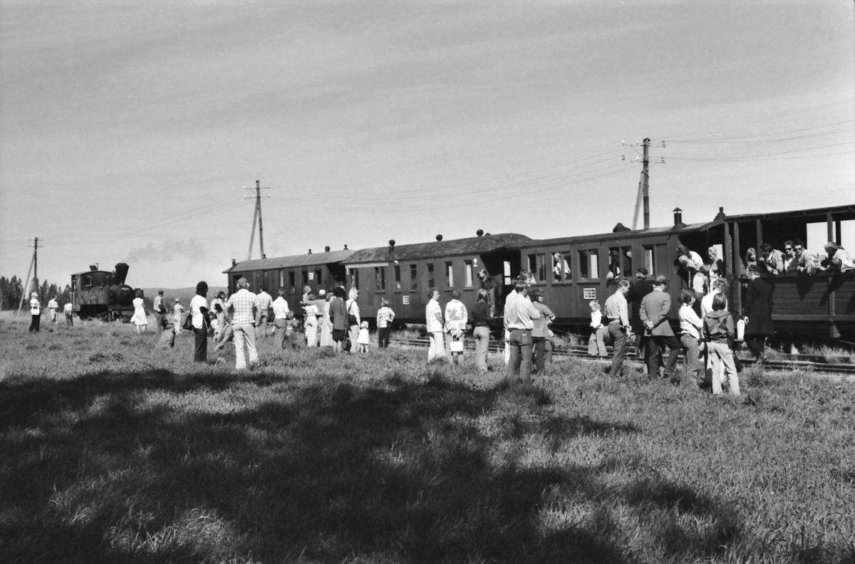 Fossum. Endestasjon for museumsjernbanen Tertitten. De reisende har gått ut av toget og ser på mens damplokomotiv nr. 4 Setskogen skiftes rundt toget.