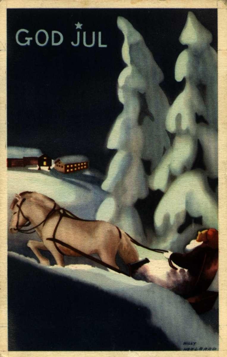 Julekort. Jule- og nyttårshilsen. Vintermotiv. Mann med hest og slede på vei gjennom skogen. Lys fra gårdsanlegg. Illustrert av Mille Heegaard.