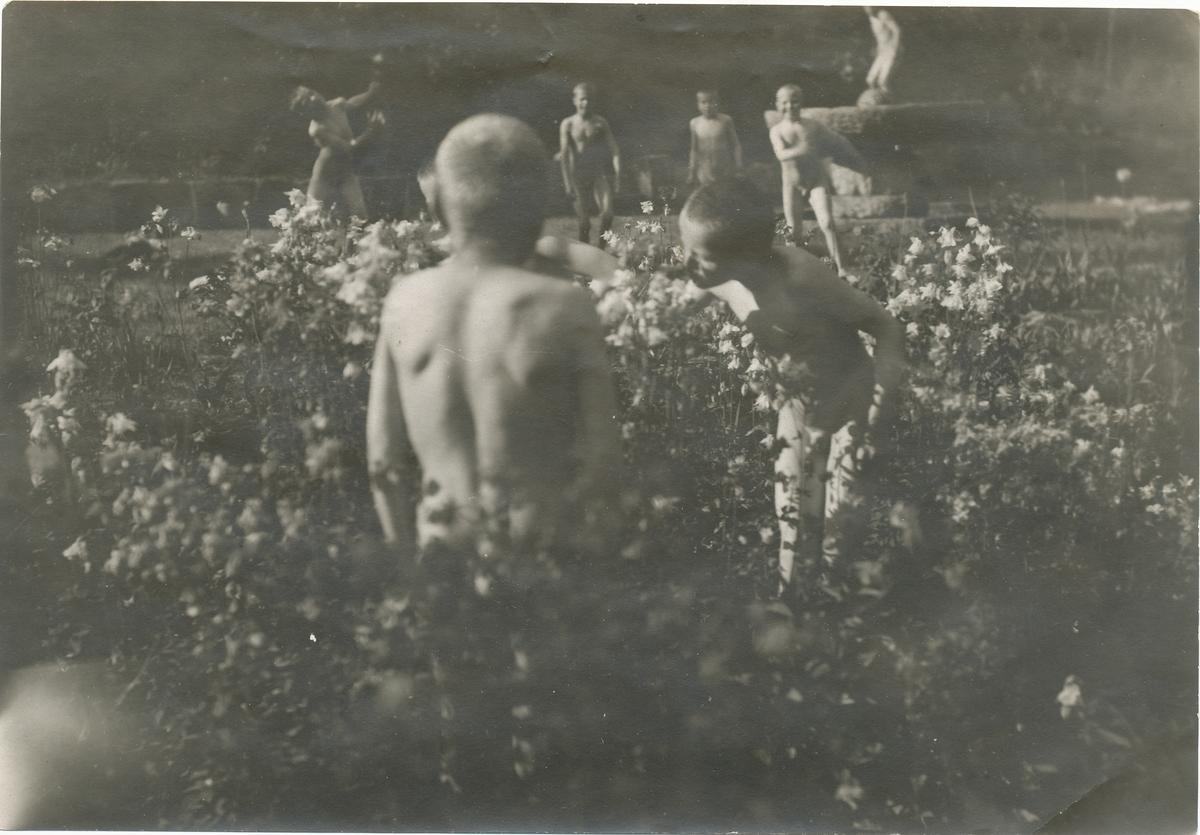 Gutter fra friluftsskolen Vangen lukter på blomstene foran fontenen hos Valstad.