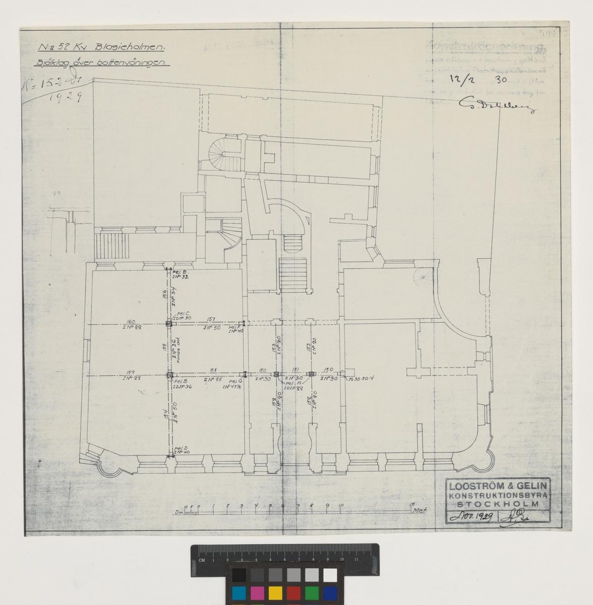 No 52 Kv. Blasieholmen Bjälklag över bottenvåningen