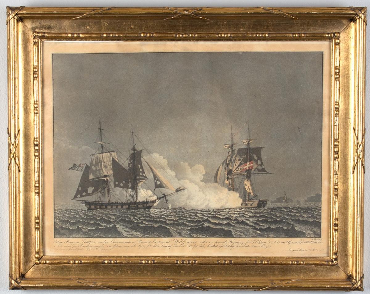 Trefning i rom sjø mellom orlogsbriggen LOUGEN med dansk flagg i akter, og ukjent britisk brigg.