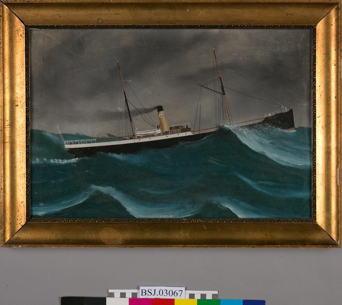 Skipsportrett av dampskipet SAGA under fart i grov sjø..