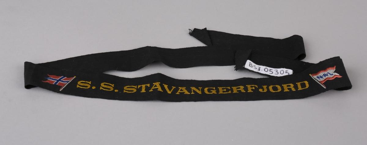 Svart silkebånd med tekst i gull samt norsk splittflagg og rederiflagg for N.A.L. (Den Norske Amerikalinje).