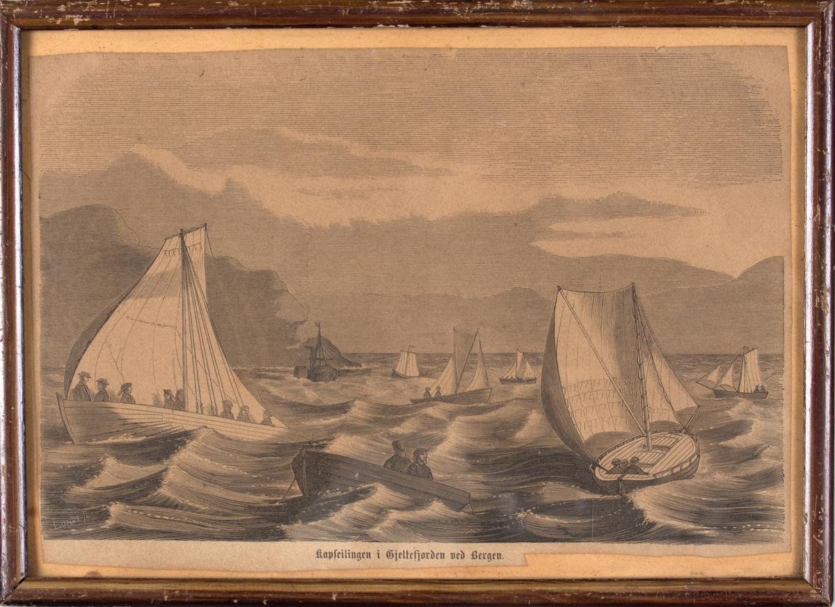 Xylografi av kappseilingen i Hjeltefjorden ved Bergen.