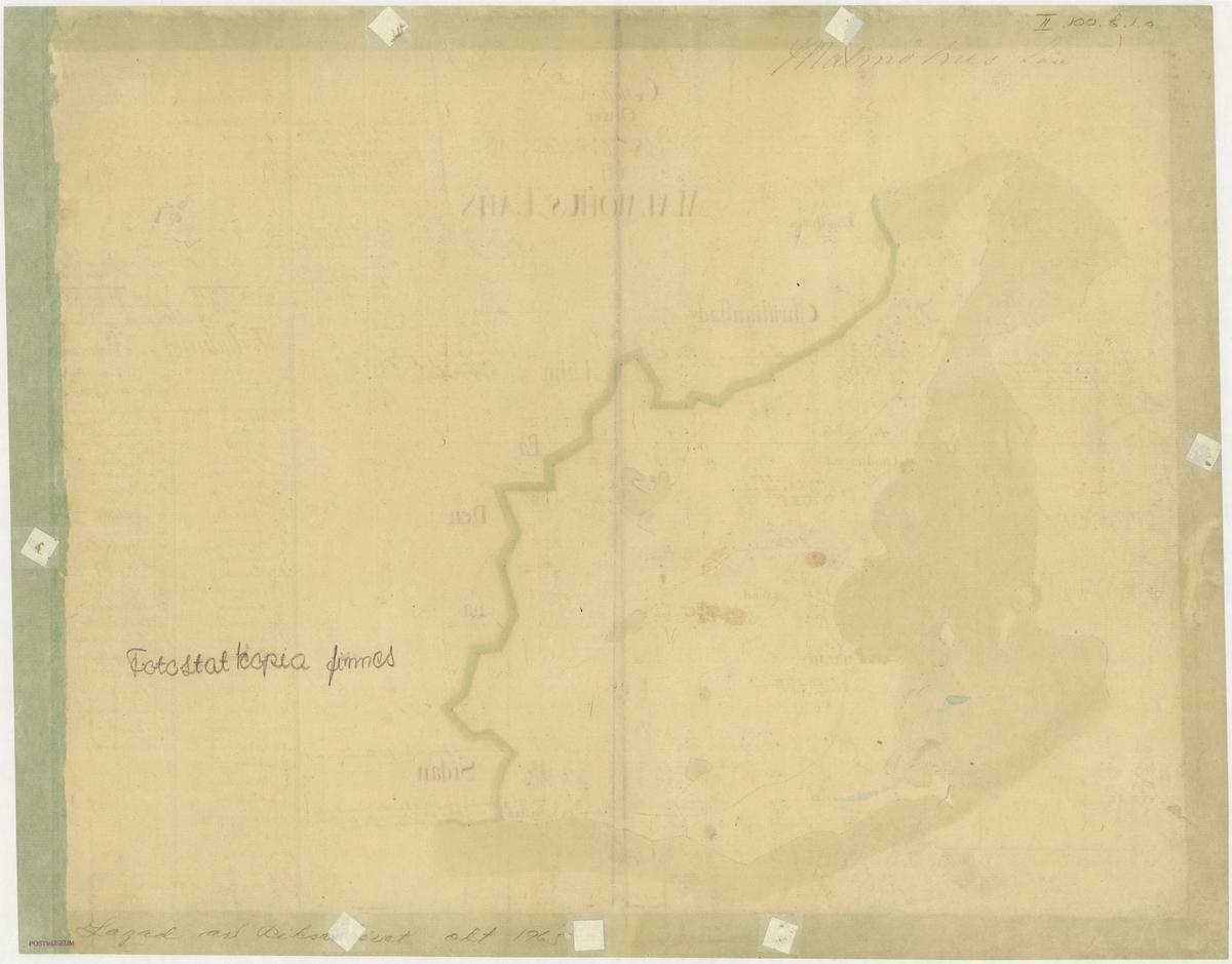 Postkarta över postvägarna i Malmöhus län, Skåne, under 1700-talets mitt. Kartan visar endast Malmöhus län, de angränsande länen namnges endast vid sidan om. En förteckning över postgårdar är skrivet för hand.