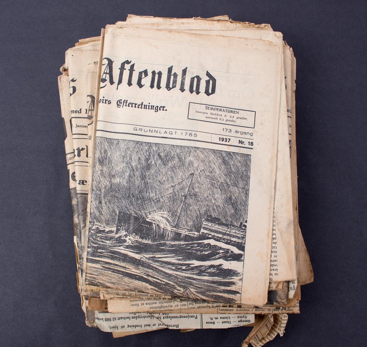 Diverse aviser: Omtale av forlisene og redningsaksjonene i Nordsjøen i januar 1937 i avisene: Bergen Aftenblad, Morgenavisen, Bergens Tidende, Arbeidet, Aftenposten, Tidens Tegn, Mandals avis, Lindesnes, Haugesund Dagblad.