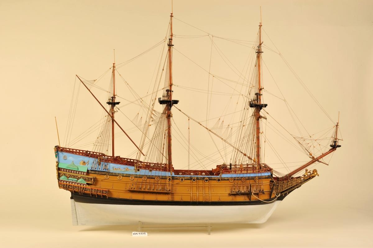 Sophia Amalia ble bygget på Hovedøya i 1650, og var den første tredekker i den dansk-norske marine.100 kanoner.