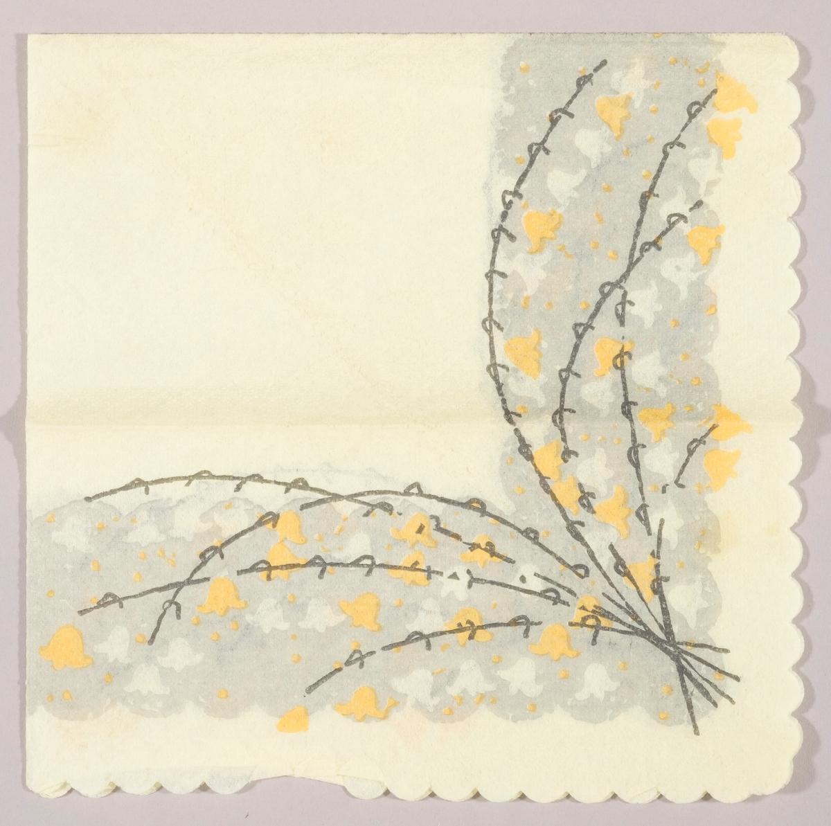 Grener med snøklokker i hvit og gul på en grå og gul bakgrunn