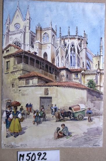 Akvarellmålning på papper. Katedralen i León, Spanien, med ett litet torg framför, med folkliv.