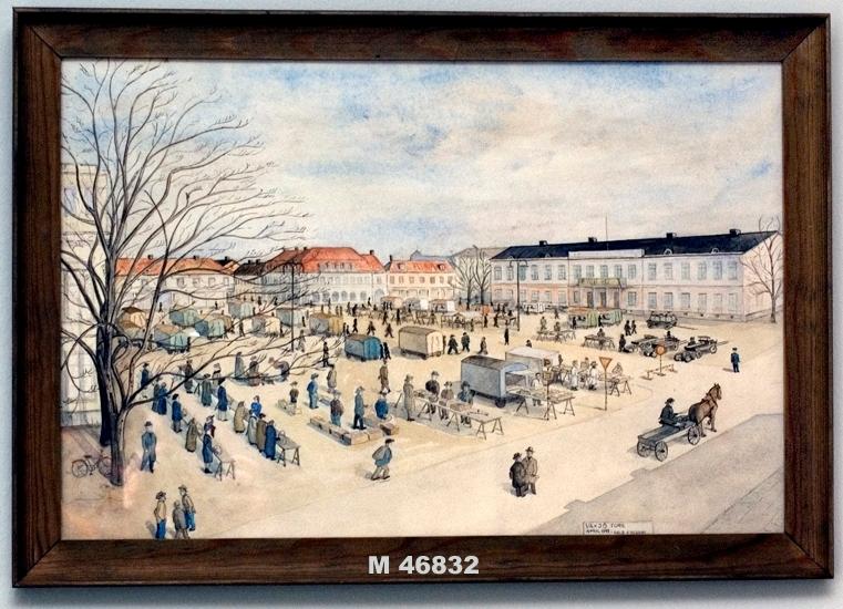 Akvarellmålning. Växjö torg 1941.  Vy från sydost, till höger syns residenset.