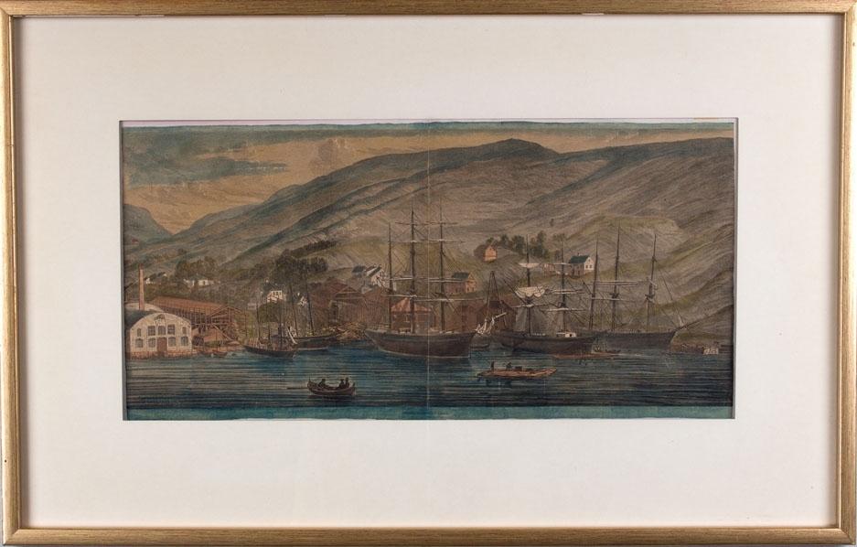 Kolorert tresnitt av Grans Skibsværft i Bergen i 1867. Ser flere seilskip ved kai, arbeidsflåter med arbeidere på samt verftsbygningene på land.