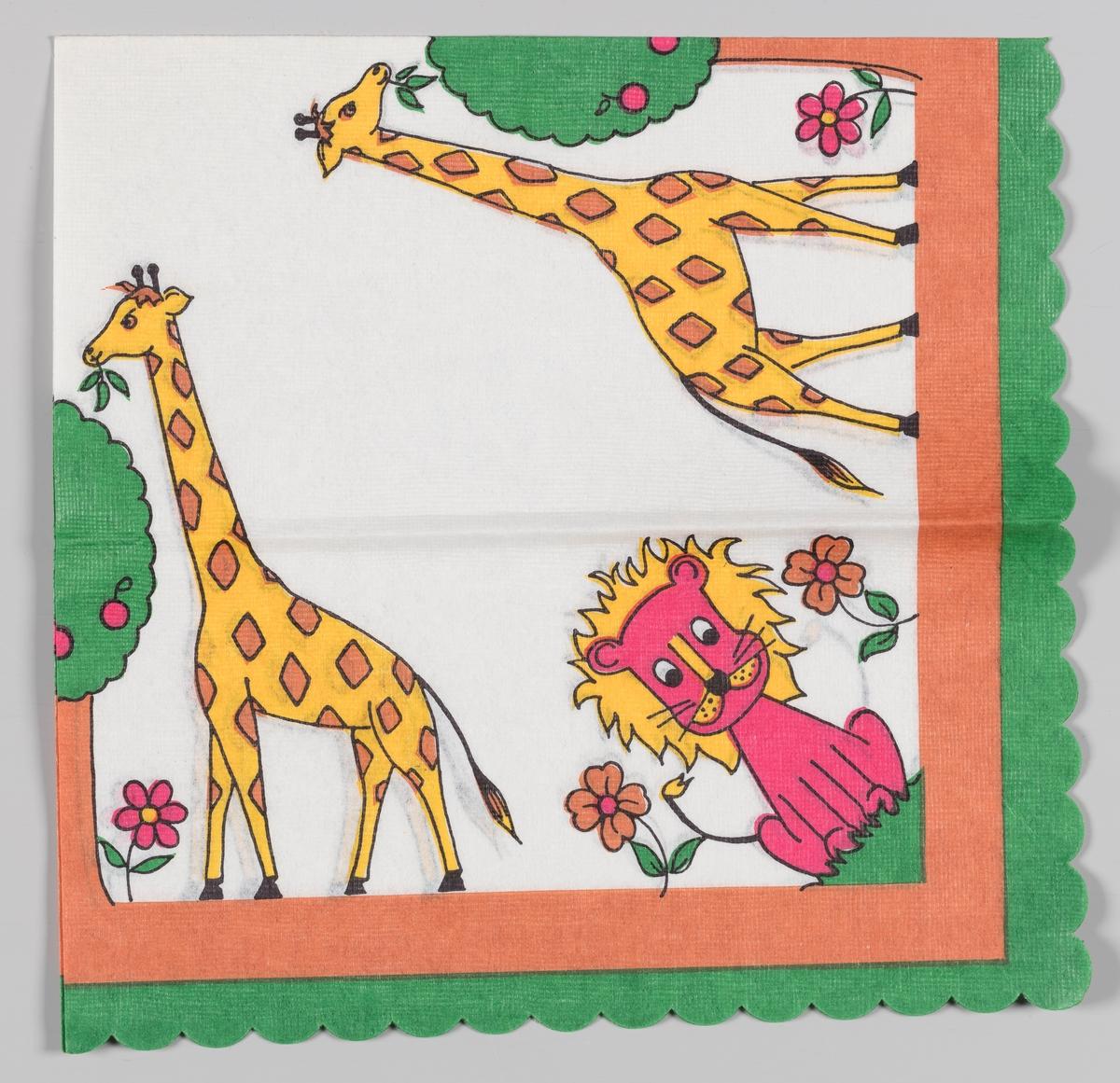 To sjiraffer spiser fra to trær og en løve sitter mellom to blomster. En grønn og brun kant