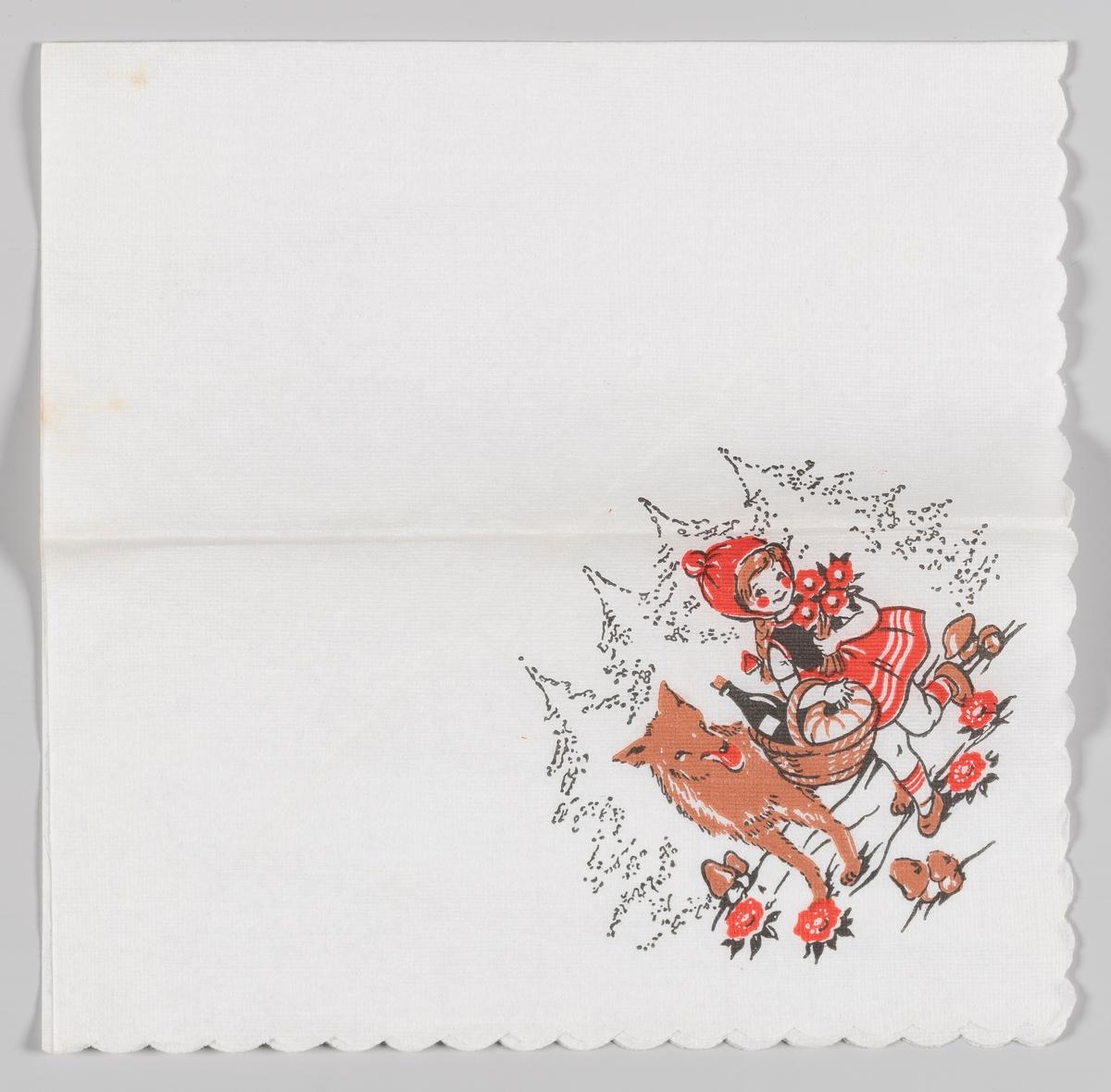 Rødhette og ulven. Rødhetter møter ulven i skogen på vei til bestemoren sin.