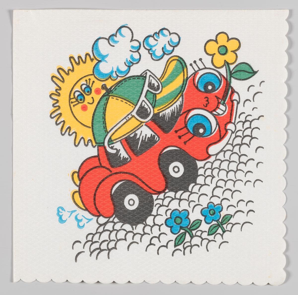 En smilende rød bil med caps og solbriller holder en blomst mellom tennene sine. Bilen kjører på en steinete vei og en smilende sol ses bak skyene.  Samme motiv som på serviett MIA.00007-003-0066.