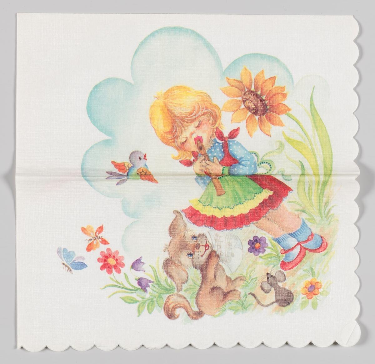 En jente spiller på fløyte med en liten hund, en mus og en fugl som publikum omgitt av blomster og sommerfugler og med en blå sky i bakgrunnen.