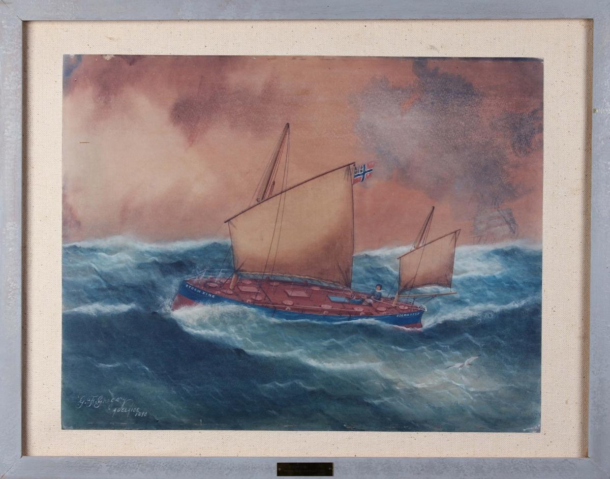 Kopi av oljemaleri av STORM KING, verdens første overbygde livbåt1890 med full seilføring på åpen sjø.
