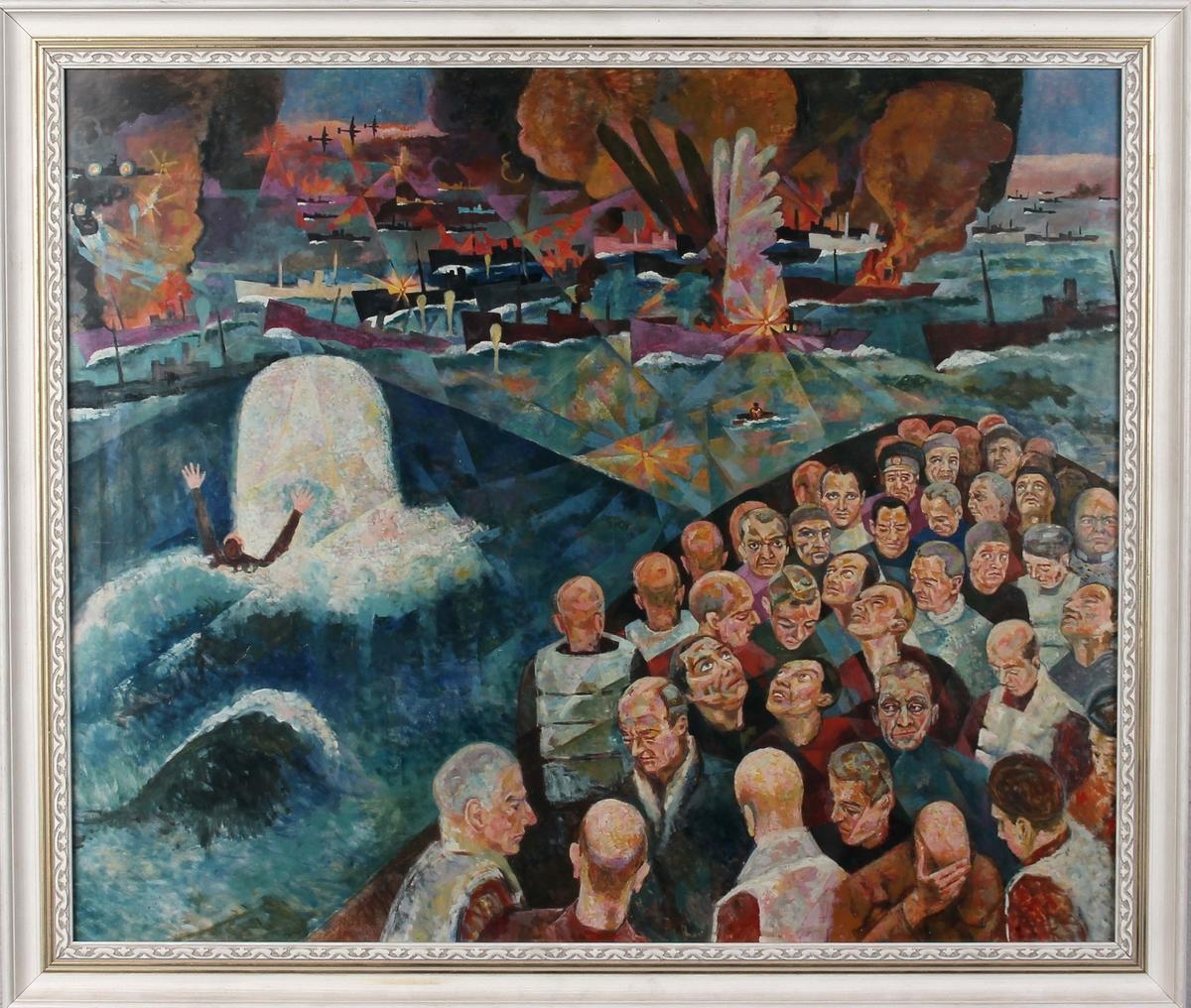 """Kopi av maleri av """"Krigsseilere 1939-1945"""" med motiv av mennnesker og skip som torpederes."""