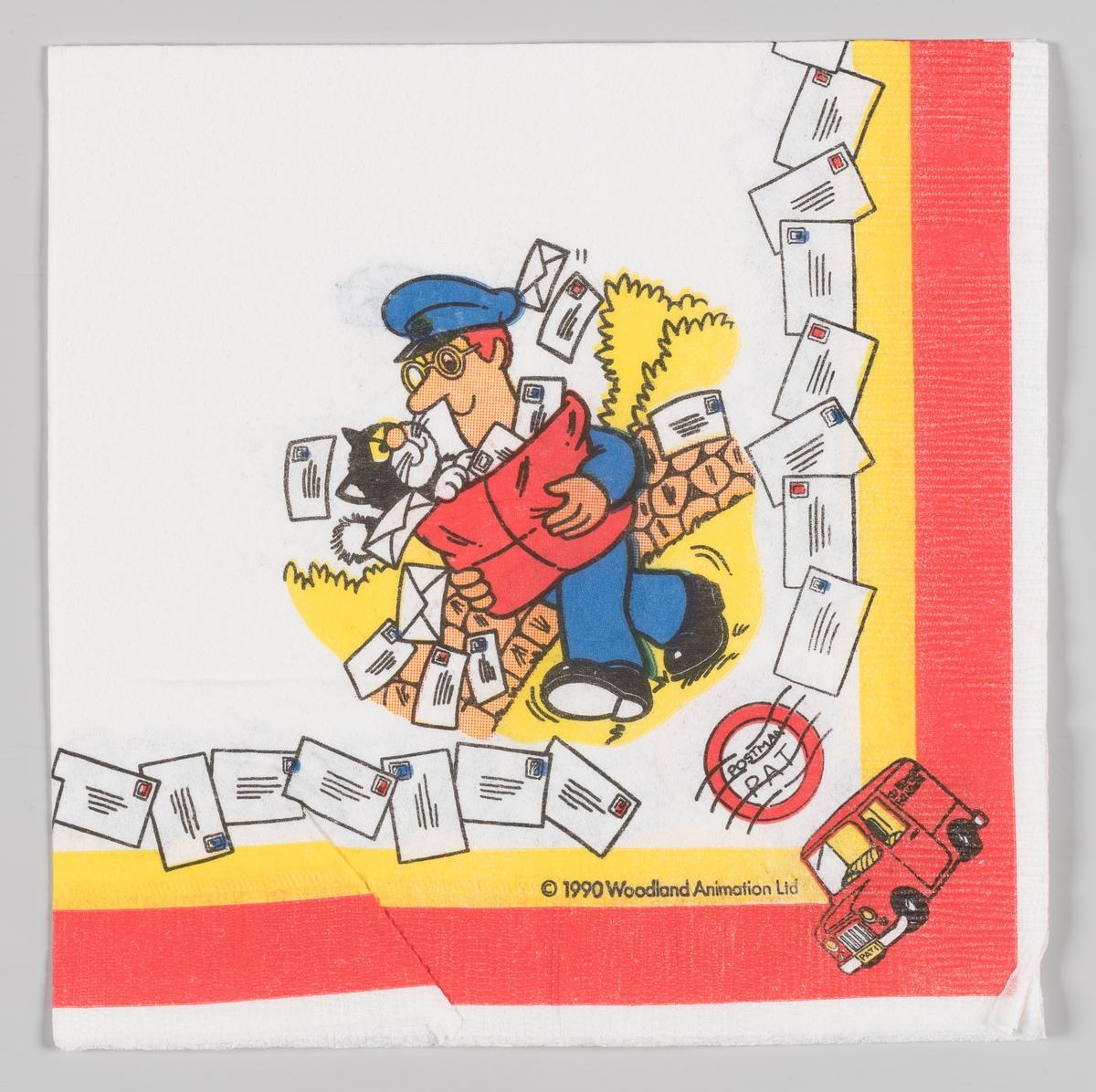 Postmann Per bærer en sekk med brev og katten Missl. Langs kanten flere brev og postmann Pers postbil.  Postmann Per (engelsk Pat) er en BBC animert (stop motion) serie som har gått på TV siden 1981. Serien har gått på NRK og ble meget populær blant mindre barn fra 1980-årene.