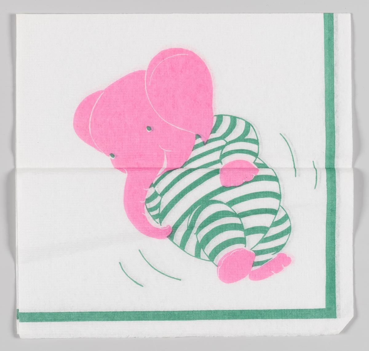 En rosa elefant i en hvit og grønnstripet drakt.