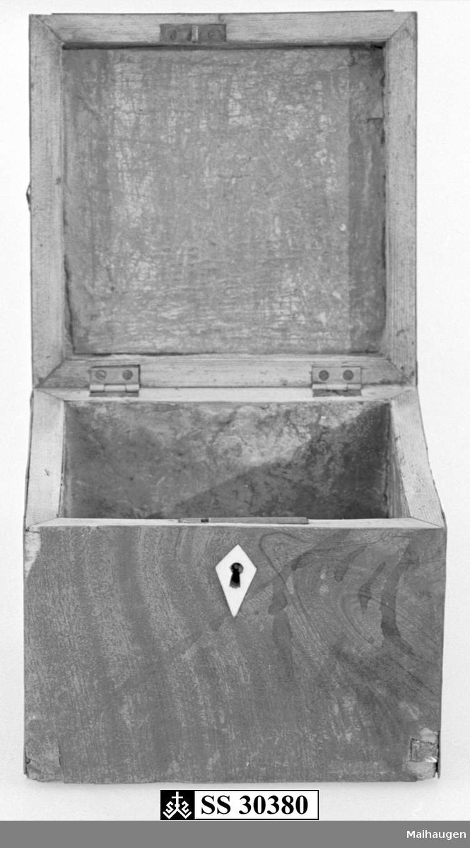 Skrin av tre, med hengslet lokk. Skrinet er laminert, og lamineringen har flasset av flere steder. Fuktskader spesielt på lokk og framside. Beslag rundt nøkkelhull av bein.   Innsiden av skrinet er laminert med metall.