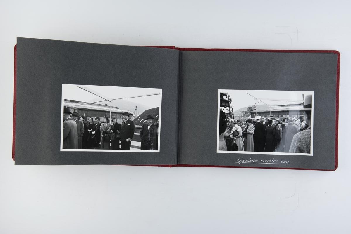 Fotoalbum med sjøsettingen av M/S Norefjord 15. mai 1953 og avlevering 15. august 1953.