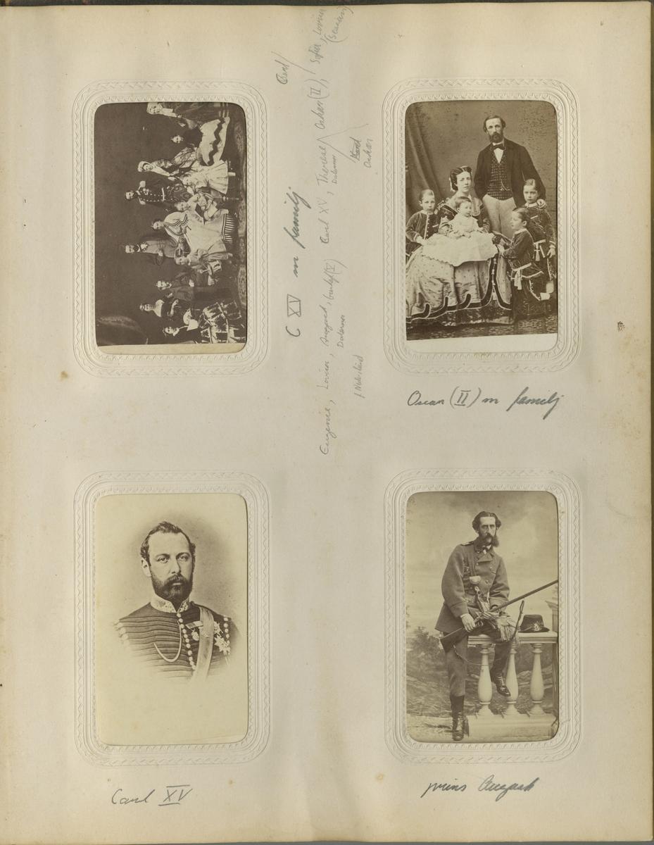 Porträtt av Oscar II med hustru Sofia och barnen Gustav (V), Oscar, Carl och Eugen.
