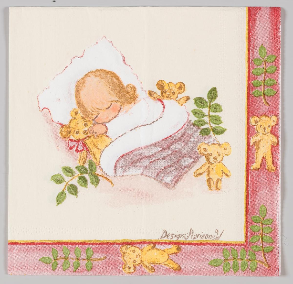En jente sover sammen med teddybjørner.