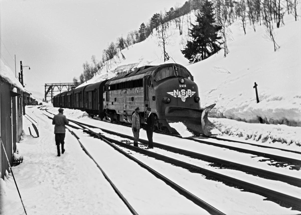 Diesellokomotiv Di 3 nr. 616 med godstog 5506 til Oslo på Mjølfjell stasjon.