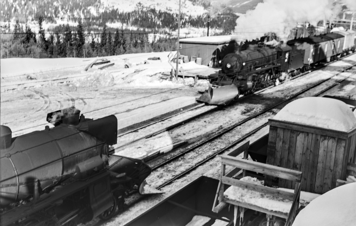 Kryssing på Hol stasjon mellom ekstratog i forbindelse med påskeutfarten, tog 7654, til venstre, og godstog til Bergen, tog 5529. Ekstratoget trekkes av damplokomotiv type 31b nr. 418, godstoget av damplokomotiv 31b nr. 429. .