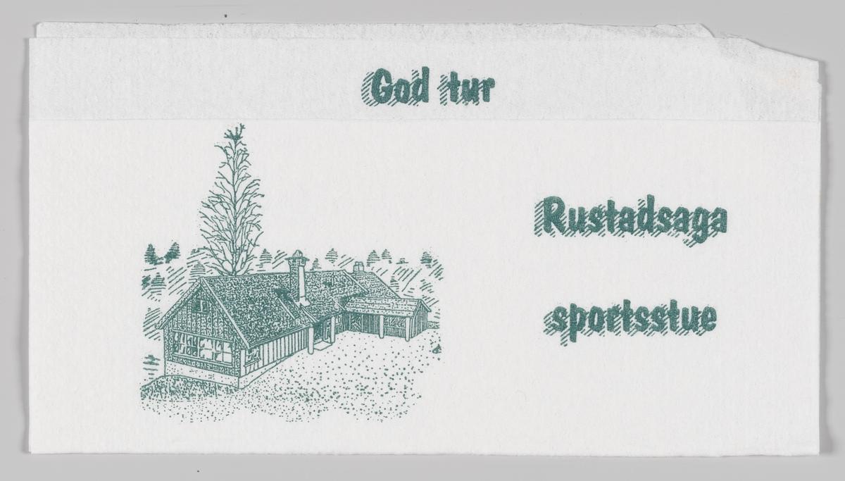 En tegning av et spisested og reklameteks for Rustadsaga sportsstue.  Rudstadsaga sportsstue ligger ved Nøklevann i Østmarka, syd-øst for Oslo