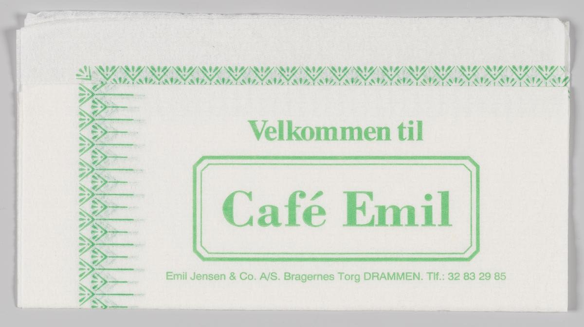 Mønsterbord langs kanten og en ramme med reklametekst for Cafè Emil i Drammen.