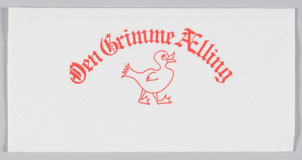 En tegning av en ælling og reklame for restaurant Den Grimme Ælling på St. Hanshaugen.  Samme reklame for Den Grimme Ælling på MIA.00007-004-0188.