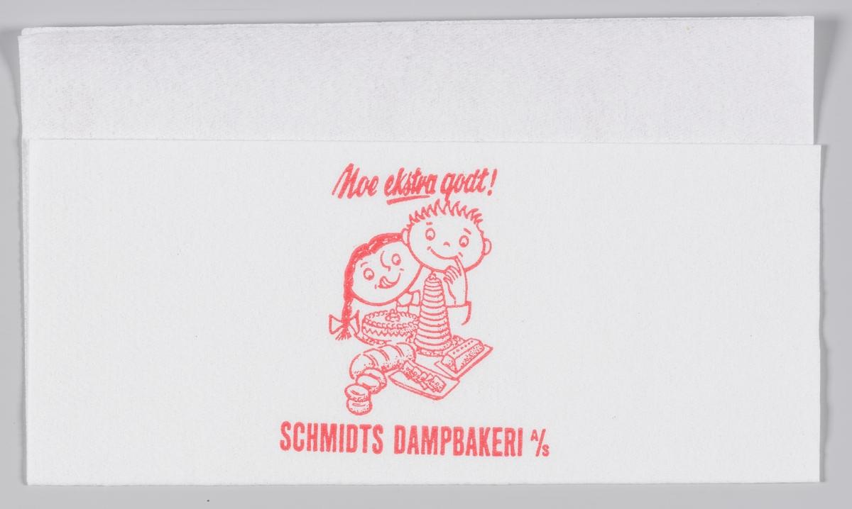 To barn og masse kaker og brød og reklametekst for Schmidts Dampbakeri A/S i Mandal.  Schmidt Dampbakeri stengte i 2014.