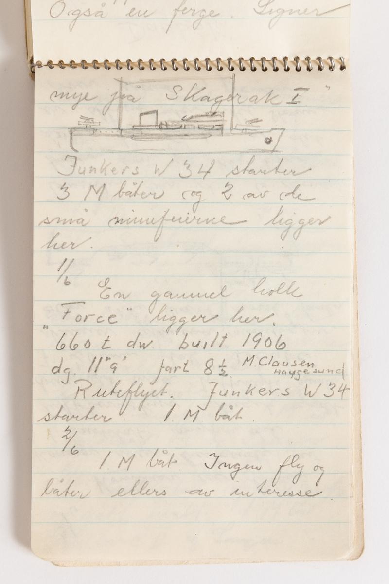 Notatbok av Gunnar Didriksen med  nedtegnelser over båt- og flytrafikk i Harstad sommeren 1942 med tegninger
