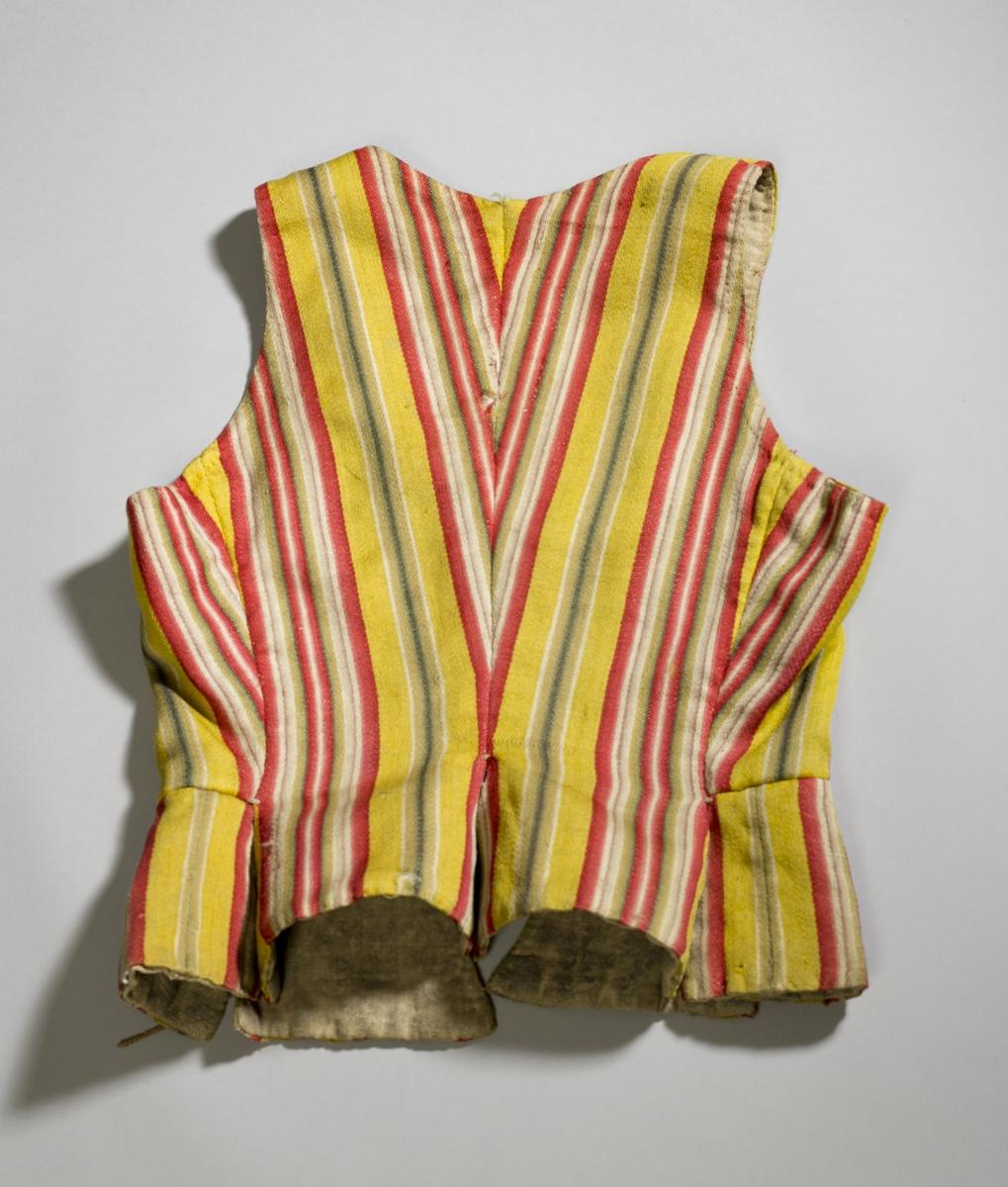Stripete snøreliv i ull med linfór. Håndvevd og håndsydd. Oppsplittede skjøter. To par snørehull med avslitte snorer.
