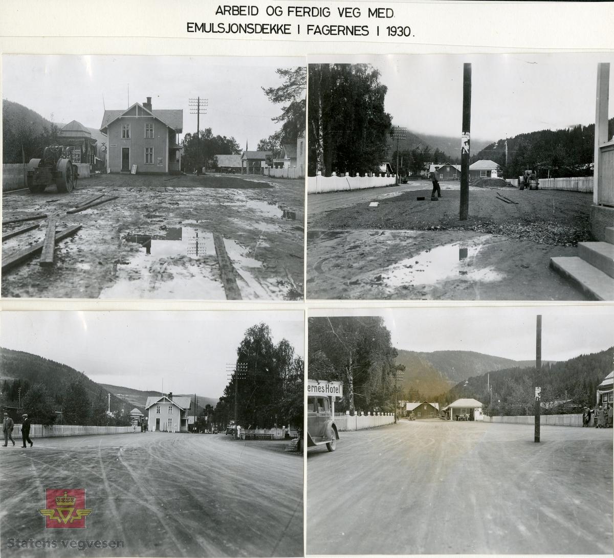 """Bilde 1) Bildet viser Fagernes jernbanestasjon og stasjonsbygning i 1930. Til høyre på bildet skilt til a/s Jotunheimen & Valdresruten Bilselskap.  Klikk på pilen til høyre som viser framdriften i arbeid og ferdig veg med emulsjonsdekke i Fagernes i 1930. Bilde 2) NVM00F36768  Bilde 3) NVM00F36769 Bilde 4) NVM00F36770  Bilde 5) NVM00F36766  Se Relasjon/Relaterte objekter lenger ned på siden som viser bilde av Brødrene Brustads emulsjonsspredevogn i 1936.  og Album """"Till Veidirektør Andreas Baalsrud,  Fr. A.S.W. Odelberg, Gustavsberg, Sverige. Oslo 4 feb 1933. Försök: Tiärinbränkt grusbana. 1932""""."""