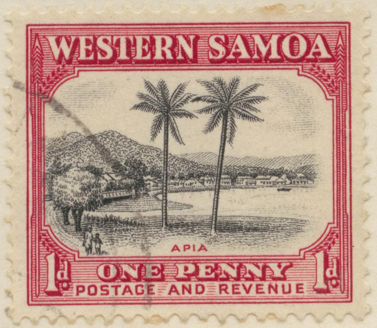 Frimärke ur Gösta Bodmans filatelistiska motivsamling, påbörjad 1950. Frimärke från Samoaöarna, 1935. Motiv av palmer vid huvudstaden Apia på ön Upolu.