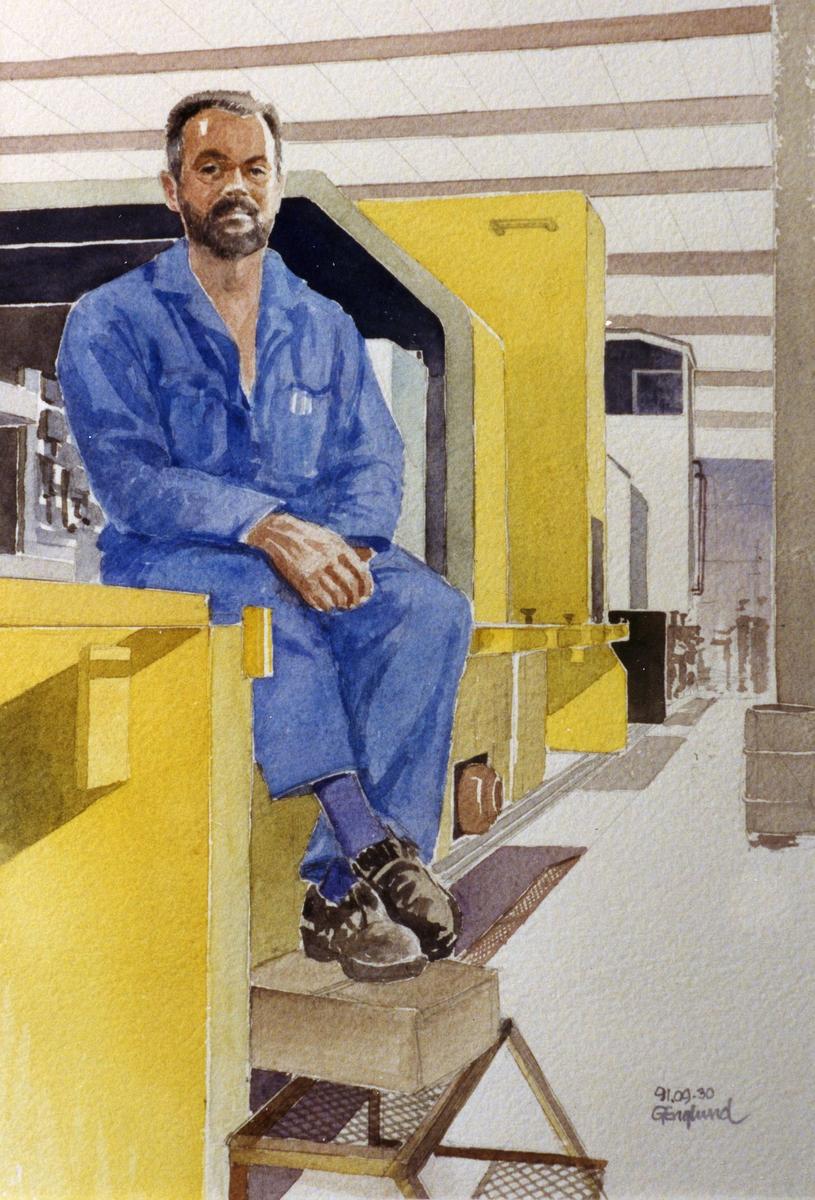 Hans Nyberg. 1991.09.30. AGEVE. Georg Englunds akvareller av/till arbetarna i Gävle när AGEVE flyttade 1993. En utställning i Paris 1993. Akvarellerna ställdes även ut i lunchrummet på AGEVE.