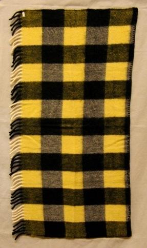 Vävprov till pläd, rutig i svart och gult vävd i liksidig kypert. I både varp och inslag är det ullgarn, filtgarn 6/2. Varpen är randig i svart och vitt. Inslaget är randigt i svart och gult. Det uppstår fyra olika rutor: en helt svart, en svart-vit, en gul-vit och en svart-gul. Rutorna är 90x105 mm. Det är en 70 mm lång drejad frans i ena sidan och svart, troligen virkad, kant i den andra.  Se även inv.nr 0026:1 Pläd Rutger.  Vävprov till pläd med modellnamn Rutger är formgivet av Ann-Mari Nilsson och tillverkat av Länshemslöjden Skaraborg. Det finns med  på sidan 62-63 i vävboken Inredningsvävar av Ann-Mari Nilsson i samarbete med Länshemslöjden Skaraborg från 1987, ICA Bokförlag. Se även inv.nr. 0001-0025,0027-0040.