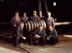 Pressmia 1960 med fast arbeidsstokk Arbeidsstoken i pressmi