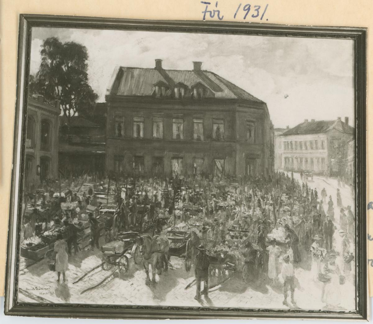 Øvre torv. Maleri av Jacob Sømme. To kopier av samme bilde. Detaljer:Aktivitet på Øvre torv.