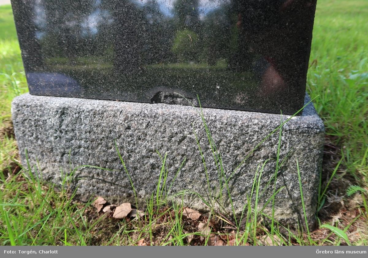 Fotoprotokoll Acc.nr: OLM-2019-395_1-52  Objekt: Ramsbergs nya kyrkogård Socken: Ramsbergs socken Kommun: Lindesbergs kommun Län: T År: 2019  Motiv: Vård och underhållsplan, avseende kulturhistoriskt värde, för Ramsbergs nya kyrkogård  1-52: Kulturhistoriskt värdefulla gravvårdar i kvarter 1.  Foto: 1-52: Charlott Torgén, Örebro läns museum  Övrigt:  Diarienr. 2016.230.125  Se även accessionsnummer: OLM-2019-396, OLM-2019-397, OLM-2019-398